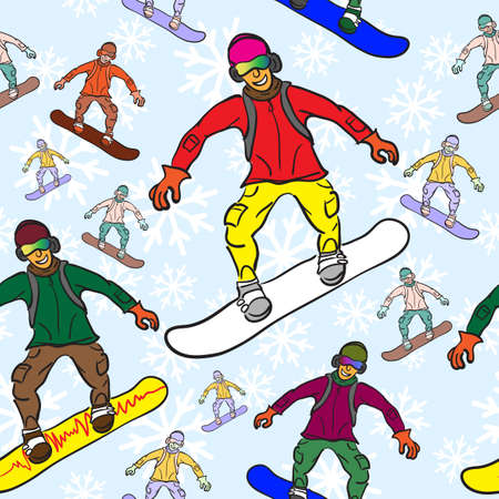 seamless pattern of Snowboarder Vector