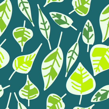 abstract seamless pattern of green leaves Stock Vector - 14887063