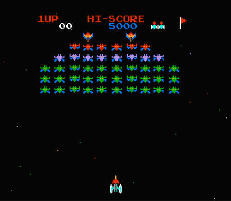 robot with shield: old computer game galaxian Illustration