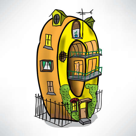 House in the form of figures in 0 Illustration