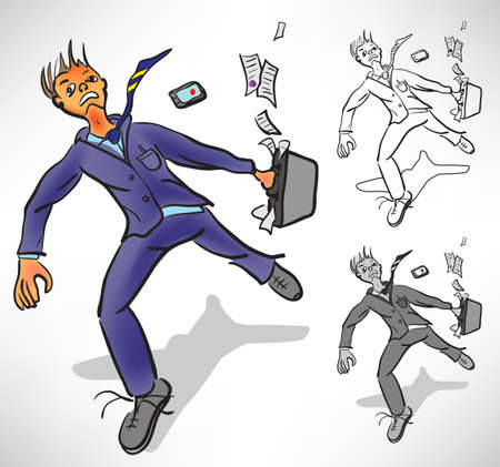 desperate: Desperate businessman runs losing things Illustration