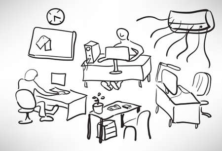 Sketch of a typical day at the office Vector