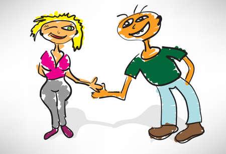 acquaintance: conocido a una chica y un chico Vectores