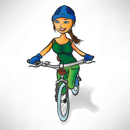 Girl in the green rides a bike Vector