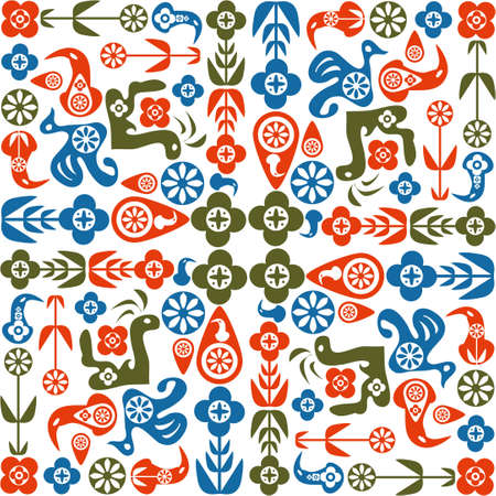 Abstract seamless pattern of birds and flowers Stock Vector - 15332831