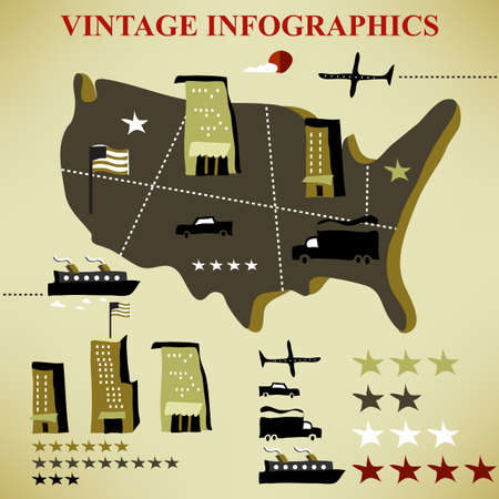 retro set of infographic  Vector