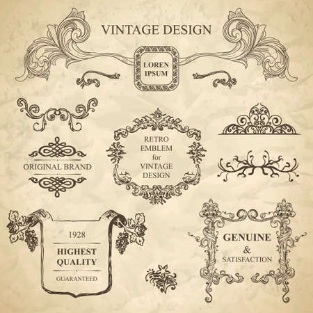 set of emblems for vintage design Stock Vector - 15614150