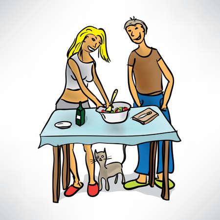 woman eat: Pareja joven preparando comida en la cocina