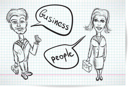 Sketch of a businesswoman and a businessman on notebook sheet Vector