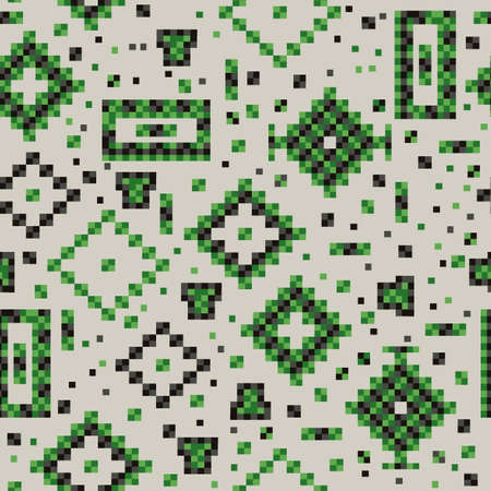 Seamless abstract pattern of green squares Vector