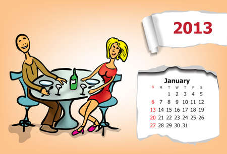 Calendar month of January  Young couple sitting in a cafe Stock Vector - 15955916