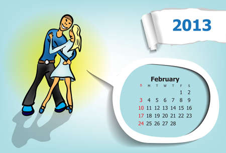 Calendar month of February  Young couple dancing waltz Vector