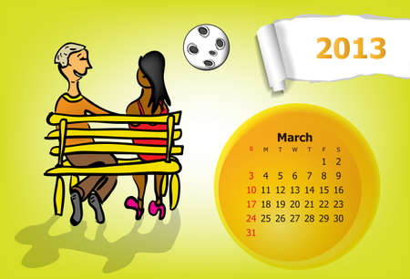 Calendar month of March  Young couple sitting on a bench at night Stock Vector - 15955871