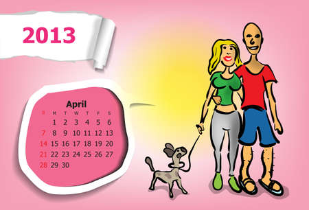 Calendar month of April  Young couple walking with dog Stock Vector - 15955876