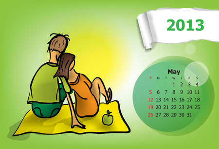 Calendar month of May  Young couple on picnic Vector