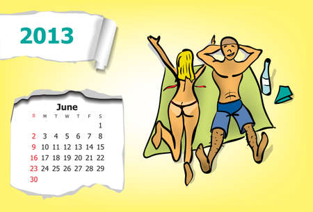 Calendar month of June  Young couple on the beach Vector
