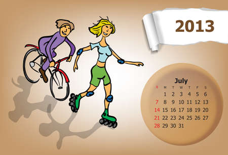 Calendar month of July  Young couple riding a bicycle and roller skates Stock Vector - 15955914