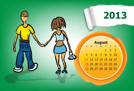Calendar month of August  Young couple walking in the park Stock Vector - 15955917