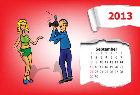 Calendar month of September  Young couple takes pictures Stock Vector - 15955922