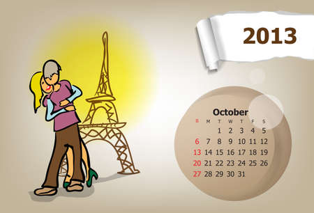 Calendar month of October  Young couple travels Vector