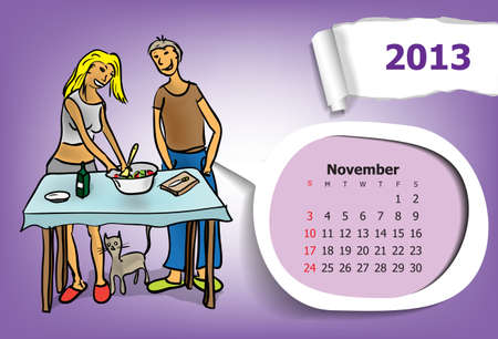 Calendar month of November  Young couple in the kitchen preparing Vector