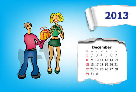 Calendar month of December  Young couple gives gifts Stock Vector - 15955920