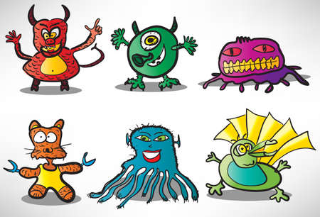 Set of cartoon funny monsters 2 Vector