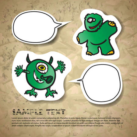 Postcard with funny green monster and speech baloons Vector