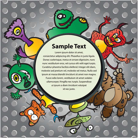 Postcard with funny monsters Vector