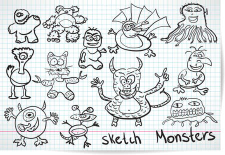 Sketch set of cartoon funny monsters Vector