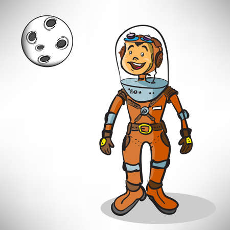 Cartoon boy astronaut Stock Vector - 16423357