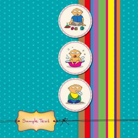 boy bath: Card with three fun babies