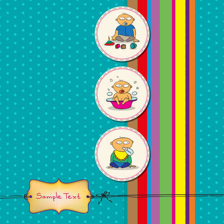 ni�as ba�andose: Tarjeta con tres beb�s diversi�n