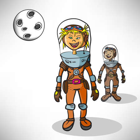 Cartoon girl astronaut Stock Vector - 16593935