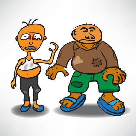 drunk cartoon: two homeless