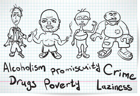 Sketch of alcoholics, drug addicts and the homeless Illustration