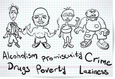 marginalization: Sketch of alcoholics, drug addicts and the homeless Illustration