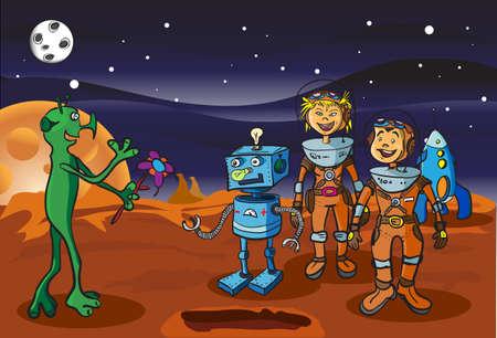 Space bijeenkomst kinderen-astronauten en alien op Mars