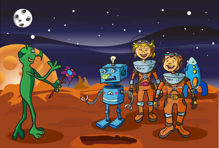 Space meeting children-astronauts and alien on Mars Illustration
