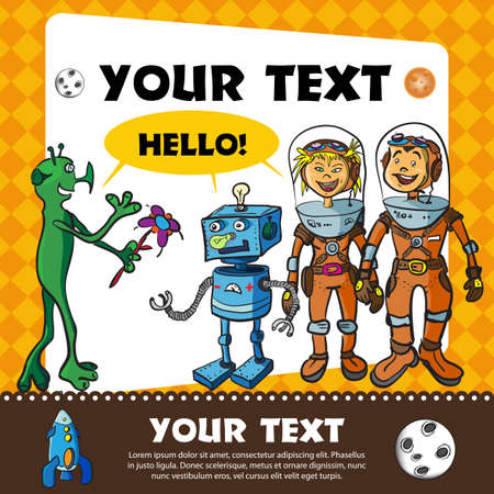 Frame with children-astronauts and alien on Mars Stock Vector - 16859840