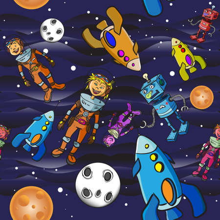 Seamless pattern cartoon children astronauts Vector