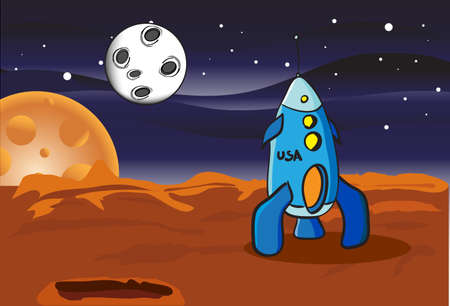 astronaut in space: American space rocket on Mars Illustration