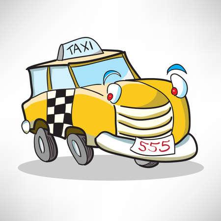 smiley pouce: Enthousiaste de taxi voiture de bande dessinée Illustration