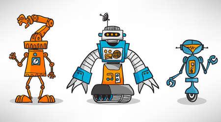 Three vintage cartoon robot Stock Vector - 17258004