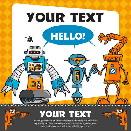 Vintage greeting card with cartoon robots Stock Vector - 17258006