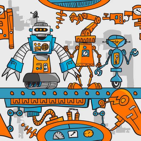 Seamless robots patrón de dibujos animados en la cadena de montaje Ilustración de vector