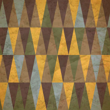 vintage seamless pattern of colored triangles worn Vector