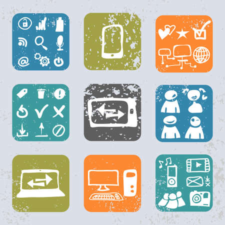Internet icons in vintage style Stock Vector - 17573156