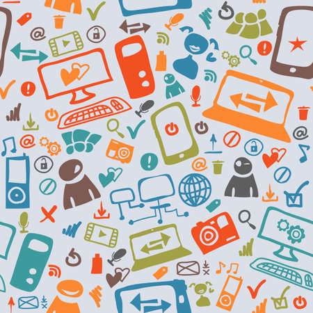 Seamless pattern of the icons on the Internet Vector