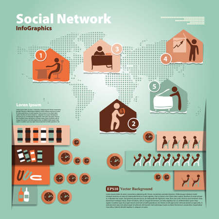 Pattern with elements of social infographic Illustration